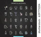 drinks chalk icons set. vector... | Shutterstock .eps vector #639775204
