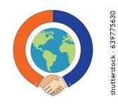 handshake around globe ... | Shutterstock .eps vector #639775630