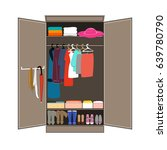 open wardrobe with tidy clothes.... | Shutterstock .eps vector #639780790