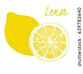 vector icon of hand drawn lemon | Shutterstock .eps vector #639783640