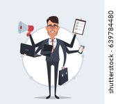 funny cartoon businessman with... | Shutterstock .eps vector #639784480