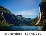 geiranger fjord  waterfall... | Shutterstock . vector #639787150