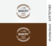 bakery logo set with wheat line ... | Shutterstock .eps vector #639787480