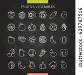 fruits and vegetables chalk... | Shutterstock .eps vector #639787516