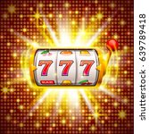 golden slot machine wins the... | Shutterstock .eps vector #639789418