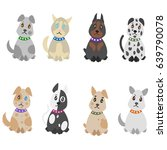 colorful hand drawn pets set... | Shutterstock .eps vector #639790078