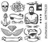 vintage sketch tattoo studio... | Shutterstock .eps vector #639790120