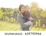 happy mother and little... | Shutterstock . vector #639790966