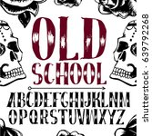 old school tattoo style font.... | Shutterstock .eps vector #639792268