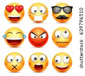 smiley emoticon set. yellow... | Shutterstock .eps vector #639796510