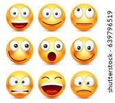 smiley emoticon set. yellow... | Shutterstock .eps vector #639796519