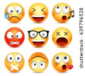 smiley emoticon set. yellow... | Shutterstock .eps vector #639796528