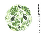 round frame with tropical... | Shutterstock . vector #639797878