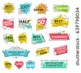 Set of premium quality labels. Modern vector illustration labels for shopping, e-commerce, product promotion, social media stickers, marketing. | Shutterstock vector #639798034