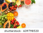 colorful fruits on the white...   Shutterstock . vector #639798520