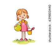 sketch of little girl | Shutterstock .eps vector #639803440