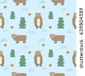 seamless background with cute... | Shutterstock .eps vector #639804589