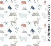 seamless forest animals... | Shutterstock .eps vector #639804793
