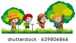 kids hiking in the forest... | Shutterstock .eps vector #639806866
