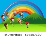 kids hiking up the mountains... | Shutterstock .eps vector #639807130