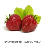 strawberries with leaves... | Shutterstock . vector #639807460