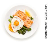 grilled salmon with asparagus... | Shutterstock . vector #639812584