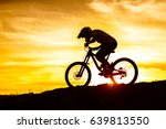 silhouette of cyclist riding... | Shutterstock . vector #639813550