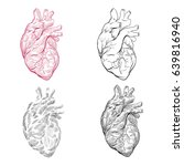 human heart hand drawn isolated ... | Shutterstock .eps vector #639816940