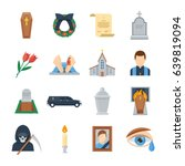 funeral vector icon set in a... | Shutterstock .eps vector #639819094