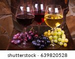 glasses of red  rose and white...   Shutterstock . vector #639820528