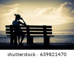 sad and lonely woman sitting... | Shutterstock . vector #639821470