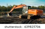excavator produces river sand... | Shutterstock . vector #639825706