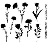 Vector Silhouette Flowers ...