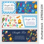 festa junina banner set with... | Shutterstock .eps vector #639836104