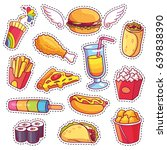 cool cartoon set of fast food... | Shutterstock .eps vector #639838390