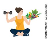 sport yoga healthy food woman
