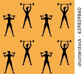 pattern sport woman barbell... | Shutterstock .eps vector #639839860