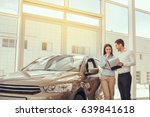 young people in a car rental... | Shutterstock . vector #639841618