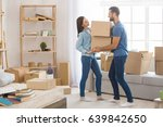 young couple moving to a new... | Shutterstock . vector #639842650