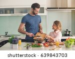 young father and daughter... | Shutterstock . vector #639843703