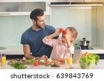 young father and daughter... | Shutterstock . vector #639843769