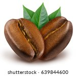two shiny fresh roasted coffee... | Shutterstock . vector #639844600