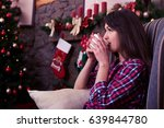 close up of peaceful girl... | Shutterstock . vector #639844780
