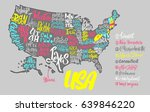 silhouette of the map of usa... | Shutterstock .eps vector #639846220