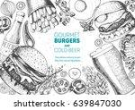 beer and burgers vector...   Shutterstock .eps vector #639847030