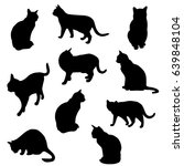 Stock vector set vector silhouette of the cat different poses standing and sitting black color isolated on 639848104