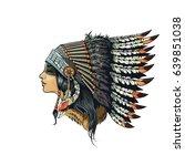 american indian girl in...   Shutterstock .eps vector #639851038