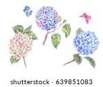 set of blooming watercolor... | Shutterstock . vector #639851083