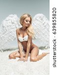 blonde woman like angel | Shutterstock . vector #639855820