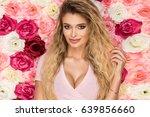 beautiful blonde girl in pink... | Shutterstock . vector #639856660